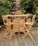 Alta Vista Teak Wood Folding Bar and Bar Stool Set