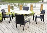Venetian Teak and Rattan Dining Table Patio Set