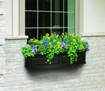 Mayne Nantucket 4 ft Window Box - Black with Wall Mount Brackets