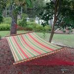 Large Quilted Fabric Hammock - Trellis Stripe