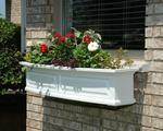 Mayne Nantucket 4 ft Window Box - White with Decorative Brackets