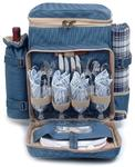 Picnic and Beyond Posh Camper Polyester Picnic Backpack for Four