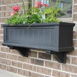 Mayne 3 ft Cape Cod Window Planter Box with Wall Mount Brackets - Black