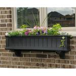 Mayne 4 ft Cape Cod Window Planter Box with Wall Mount Brackets - Black