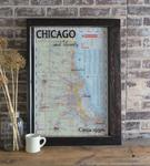 Reclaimed Window Framed Vintage Chicago Road Map Art