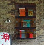 Reclaimed Barn Door Wall Mount Bookshelf and Magazine Rack 3 Shelves