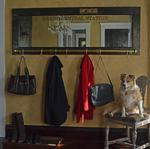 Vintage Door Coat Rack Mirror with Brass Rail and Grand Central Station Lettering