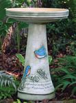 Eco Friendly Burley Clay Bluebird Bird Bath Set (Lock-On)