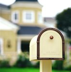 Coronado Post Mount Residential Mailbox with Antique Copper Accents