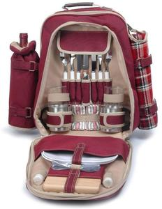 Picnic and Beyond Backpack for Two - Red/Black Plaid