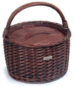 Picnic and Beyond Traditional Round Willow Cooler Basket - Black Willow