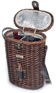 Picnic and Beyond Enchanted Vineyard Willow Wine Basket - Black Willow
