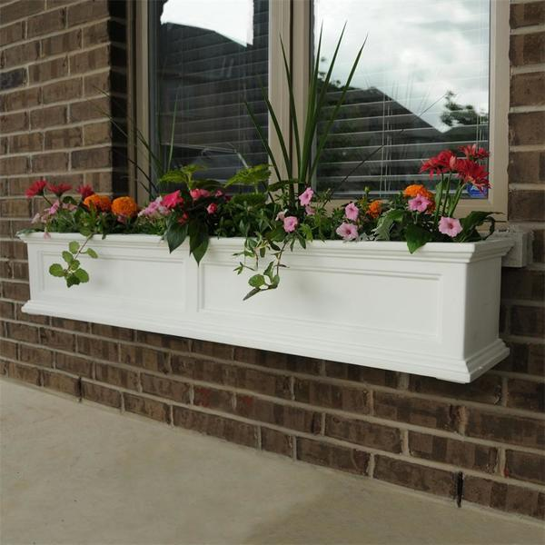 Mayne 5ft Fairfield Window Planter Box - White with Wall Mount Brackets