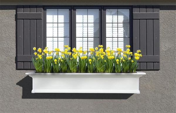 Mayne 5 ft Yorkshire Window Planter Box - White with Wall Mount Brackets