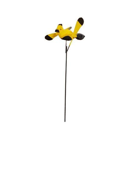 Yellow and Black Whirly Bird Garden Spinner