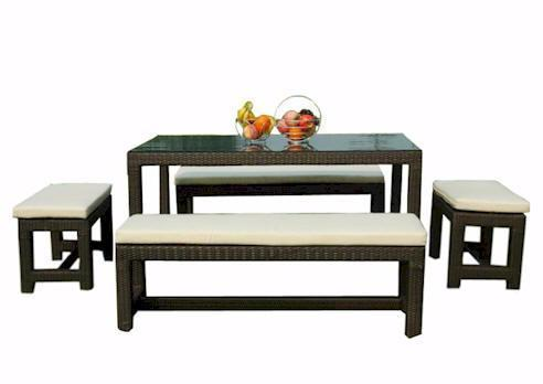 Sorrento Rattan 5 Piece Dining Set