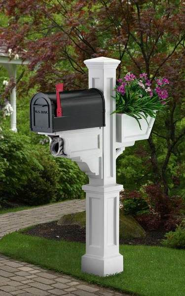 Mayne Signature Plus Polyethylene Mailbox Post - White