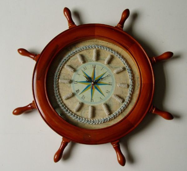 Nautical Decor Captain's Wheel Knot Clock - In Stock and Ready to Ship