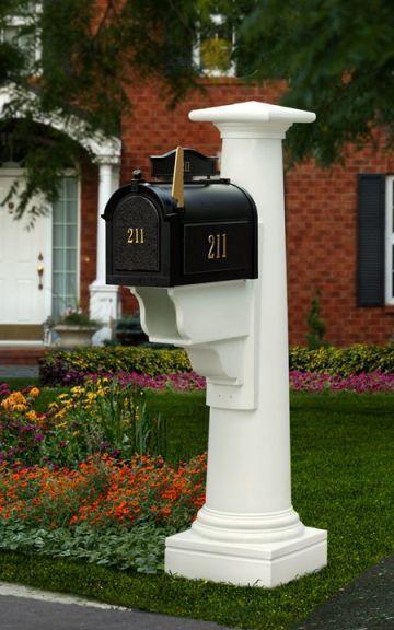 Mayne Statesville Polyethylene Mailbox Post - White