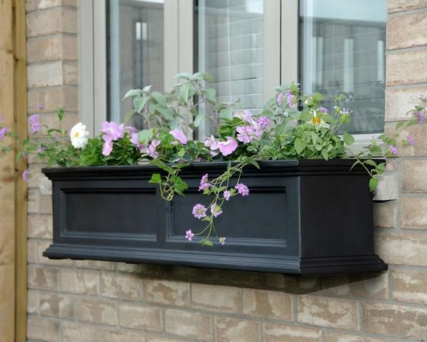 Mayne 4 ft Fairfield Window Planter Box - Black with Wall Mount Brackets