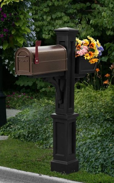 Mayne Westbrook Plus Polyethylene Mailbox Post - Black