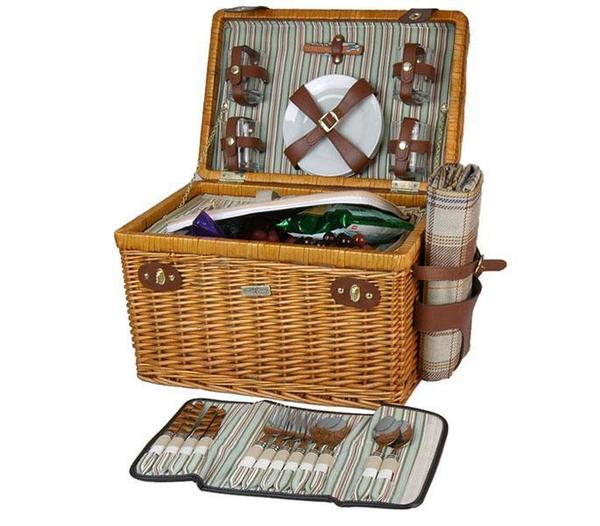 Picnic and Beyond Enchanted Evening Willow Picnic Basket for Four