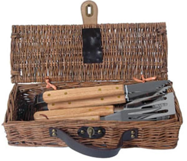 Picnic and Beyond Skewer Willow BBQ Basket - 3 Piece Set