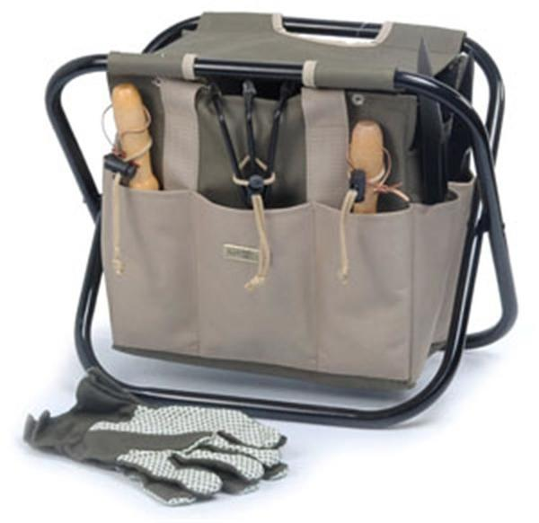 Picnic and Beyond Terrace Portable Garden Tools Carrier Green and Beige