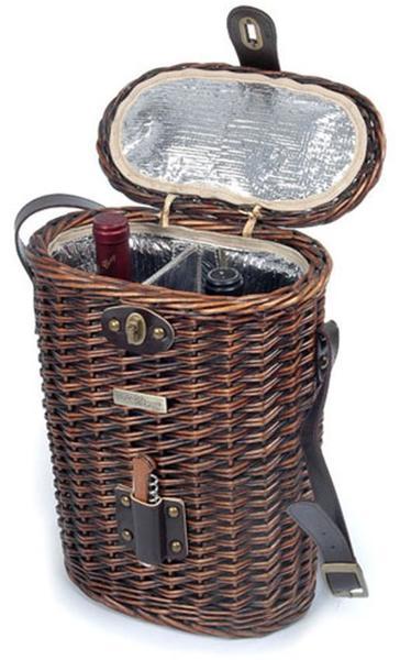 Picnic and Beyond Enchanted Vineyard Willow Wine Basket - Black Willow