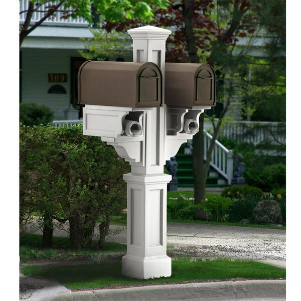 Mayne Rockport Double Polyethylene Mailbox Post - White