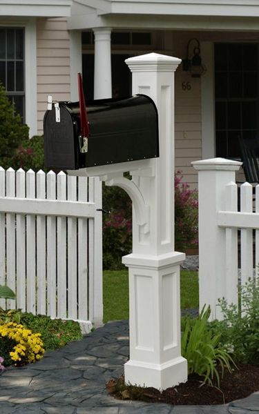 Mayne Newport Plus Polyethylene Mailbox Post - White