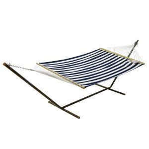 Fabric Hammock and Stand Combination - Blue and White Stripe