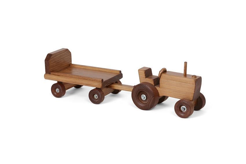 Wooden Toy Tractor and Wagon
