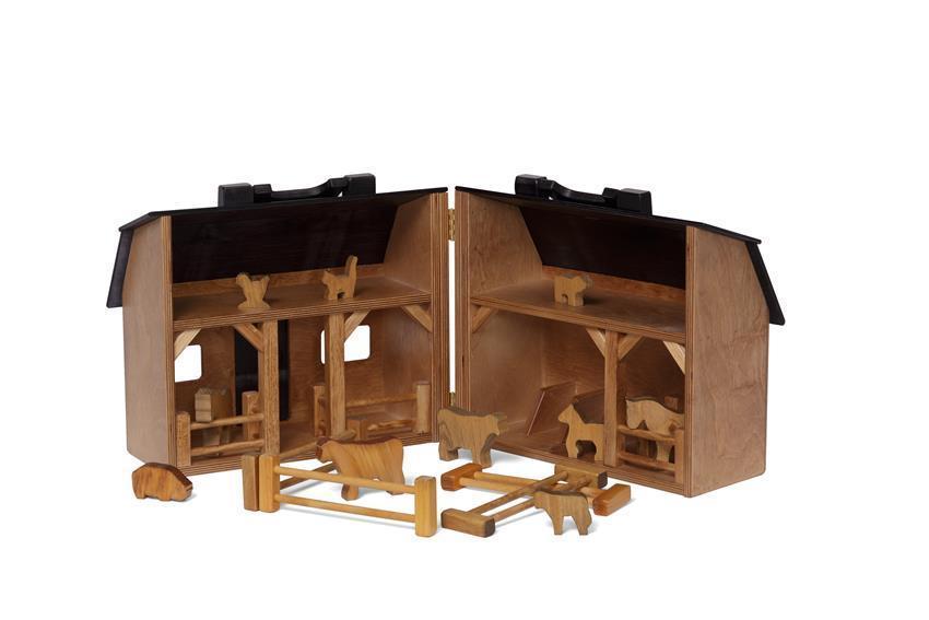 Fold and Go Barn: Wooden Toy Barn and Farm Animal Set