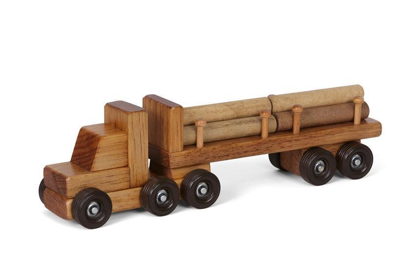 Small Wooden Logger Toy Truck