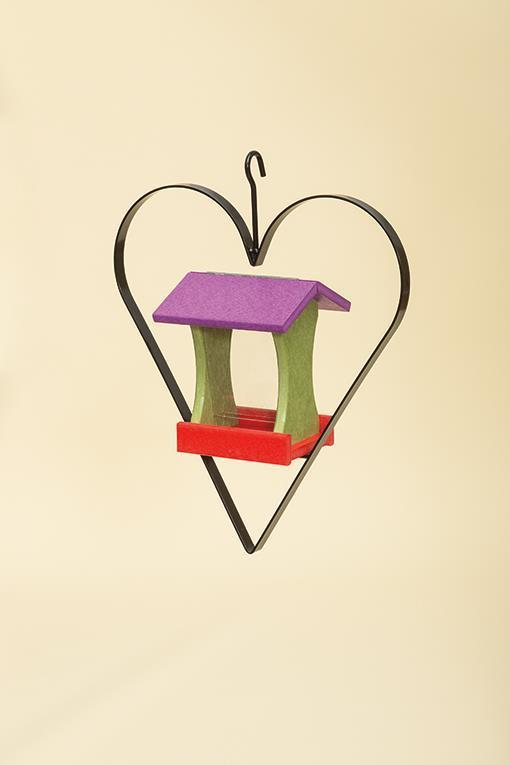 Recycled Plastic Bird Feeder with Heart