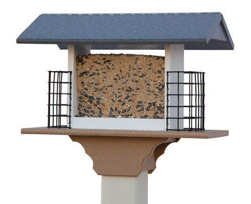 Recycled Plastic Large Rectangle Bird Feeder with Suet