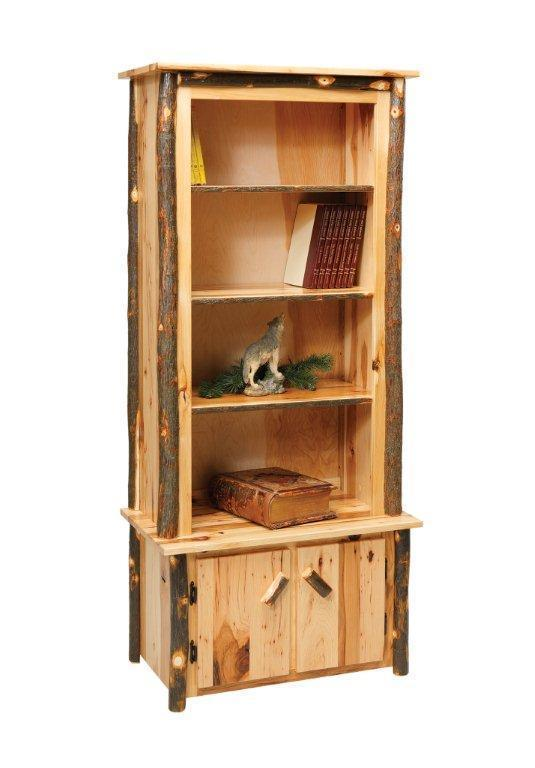 Sustainable Rustic Hickory Wood Bookcase