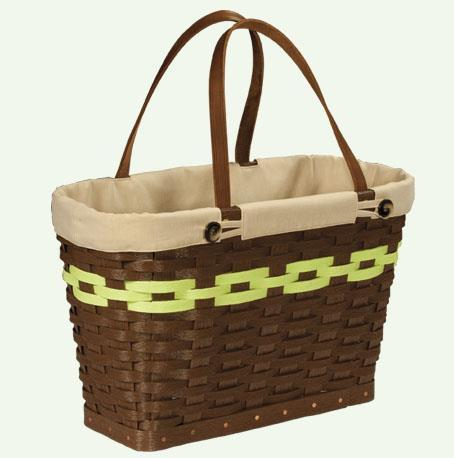 Hand Woven Recycled Plastic Grocery or Farmers Market Basket