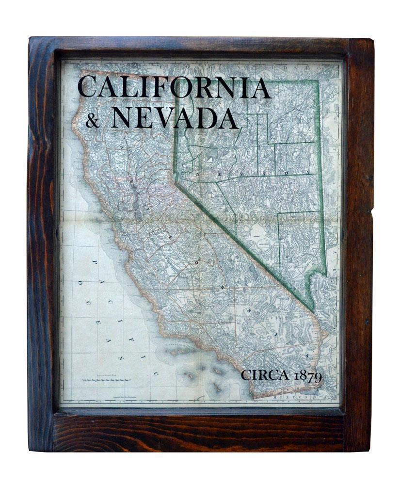 California and Nevada Framed Map Wall Art – Reproduction 1879 CA-NV Map