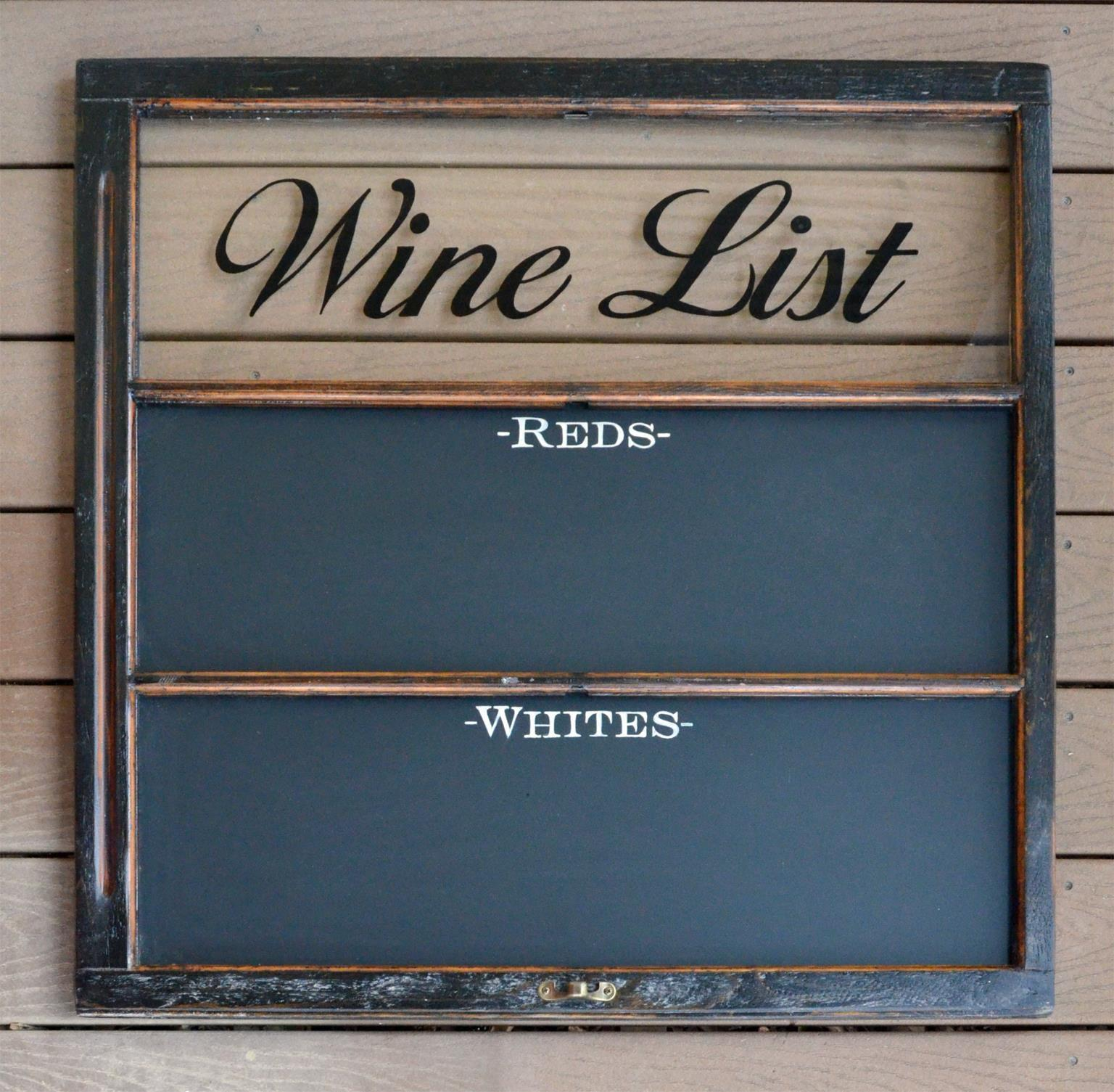 Wine List Chalkboard Handcrafted from Recycled Windows