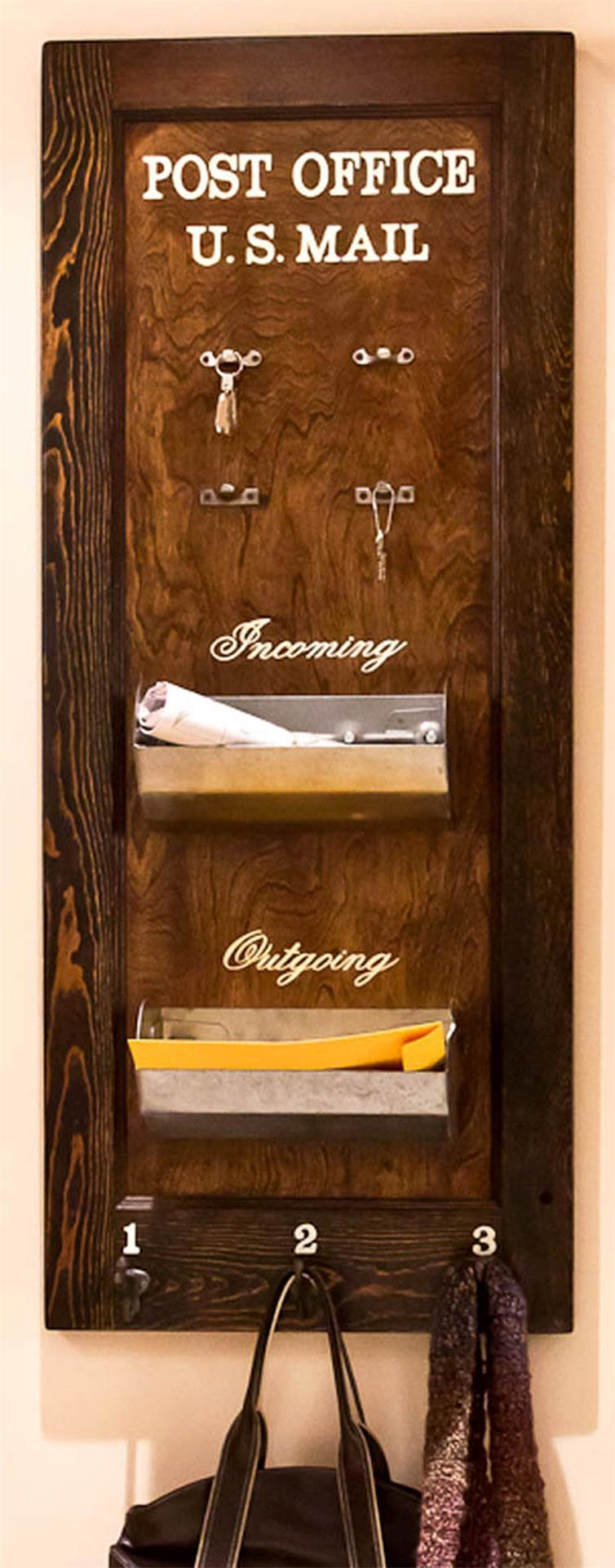 Reclaimed Wood Coat Rack and Mail Organizer