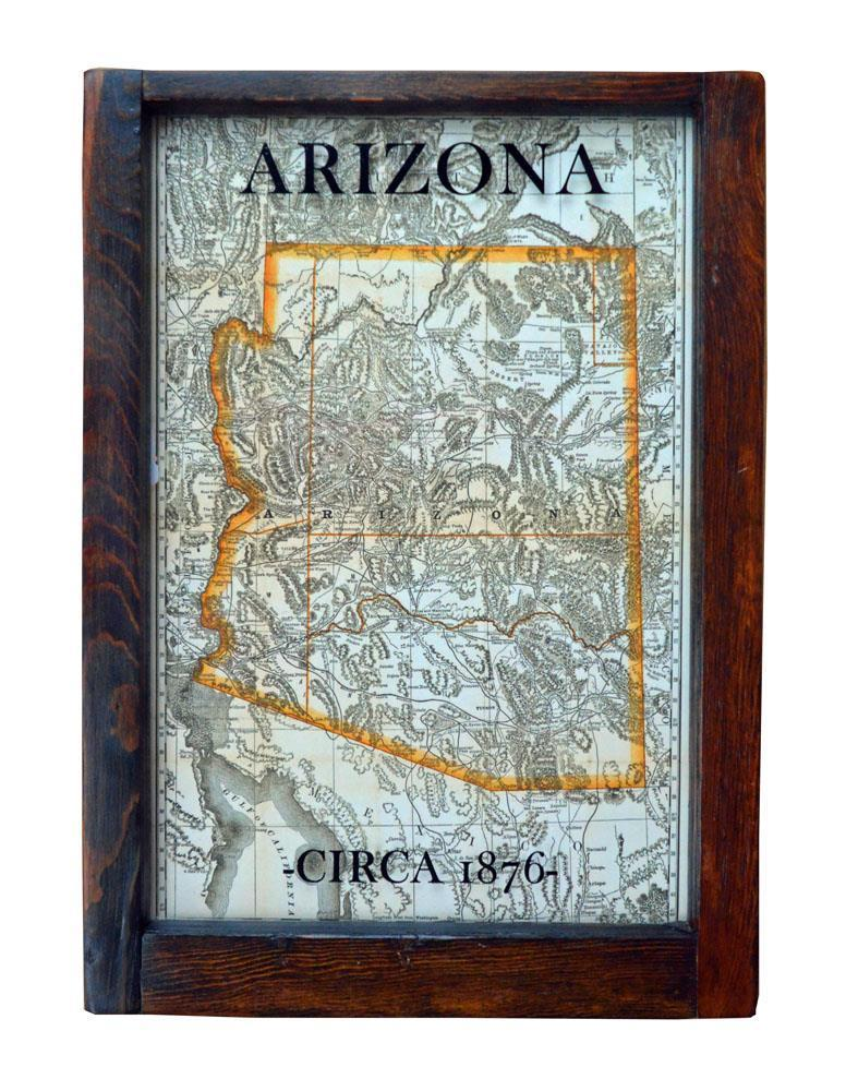Reclaimed Window Framed Reproduction 1876 Arizona Map