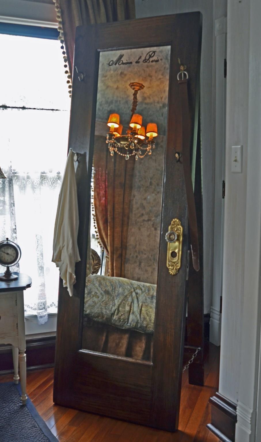 Vintage Door Full Length Standing Mirror with Hooks