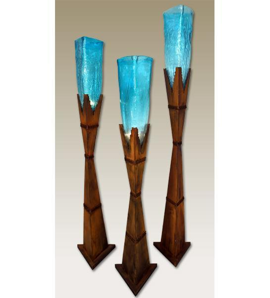 Triangle Glass Vase with Iron Base Floor Lamp