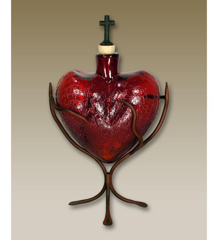 Glass Heart Vase Crackled Red