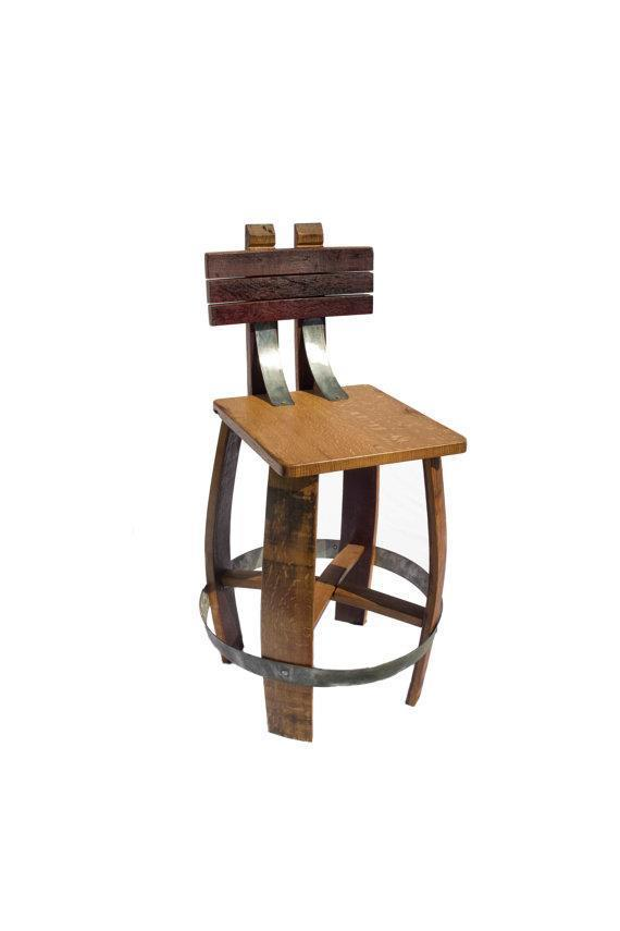 Whiskey Barrel Stave Stool with Backseat