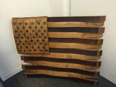 Repurposed Whiskey Barrel American Flag