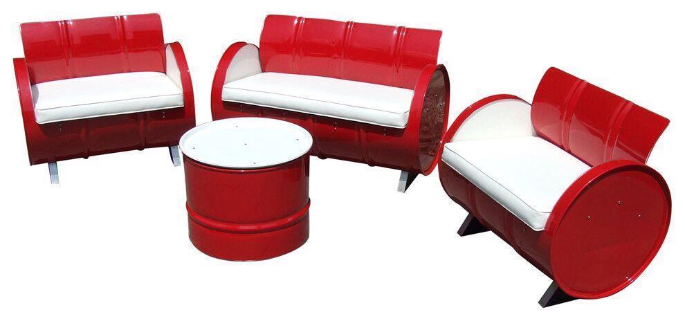 Repurposed Steel Red White 4 Piece Conversation Set
