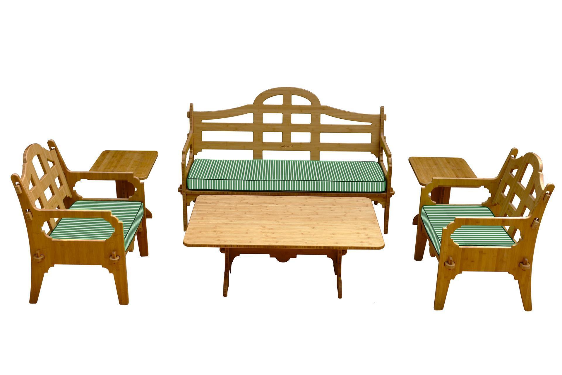 Gentil Wedgewood 6 Piece Bamboo Sofa Set